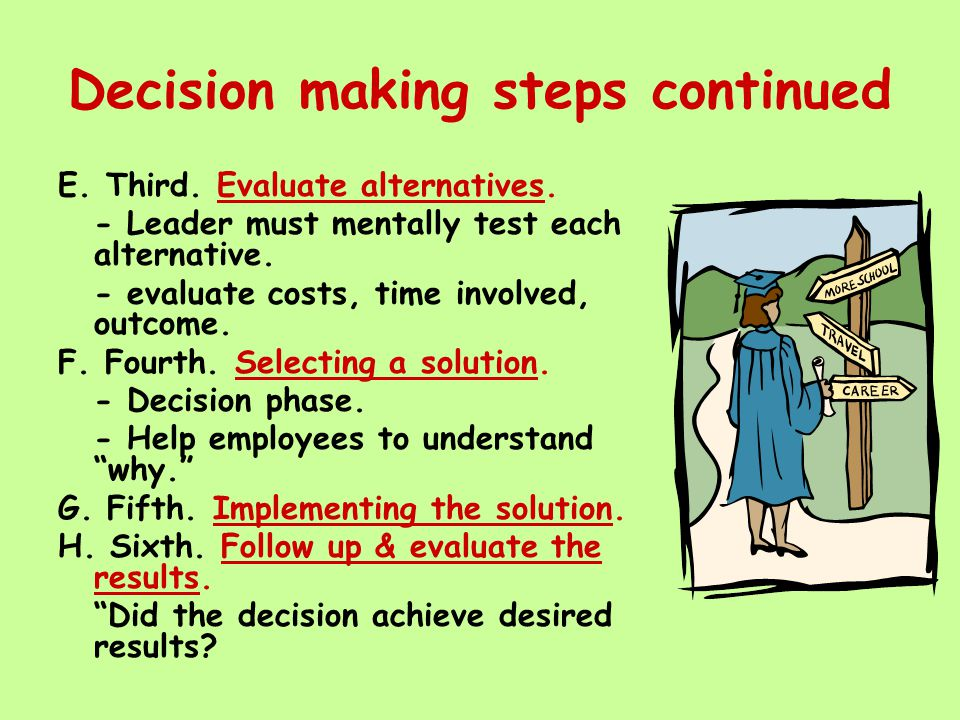 Decision making steps continued E. Third. Evaluate alternatives. - Leader must mentally test each alternative. - evaluate costs, time involved, outcom