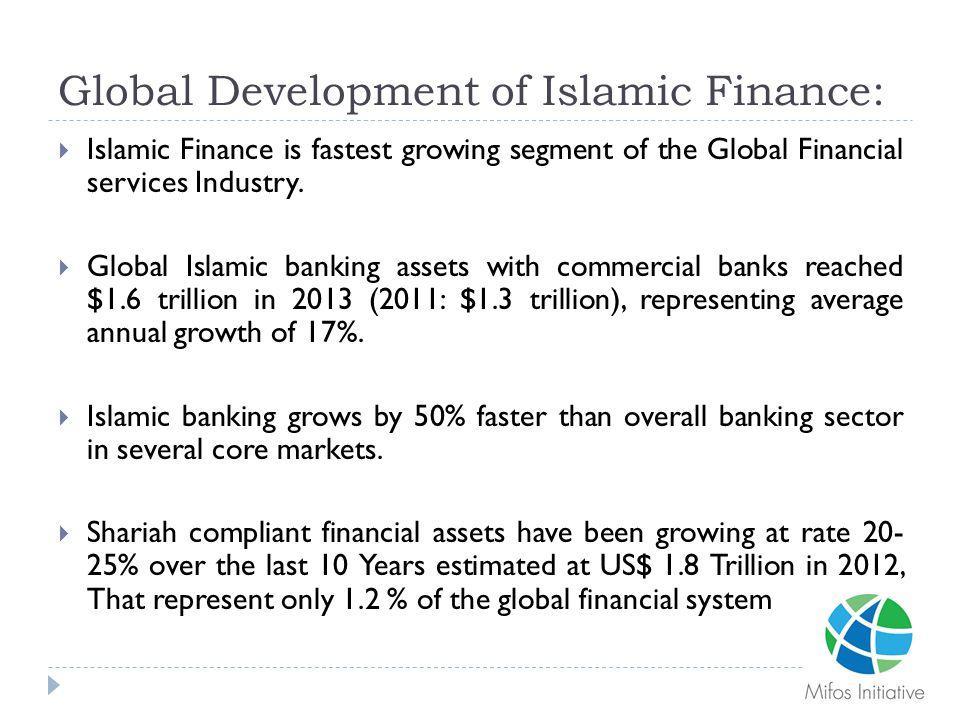 Global Development of Islamic Finance:  Islamic Finance is fastest growing segment of the Global Financial services Industry.  Global Islamic bankin