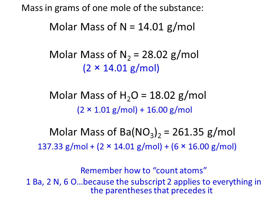 Mass in grams of one mole of the substance: Molar Mass of N = 14.01 g/mol Molar Mass of N 2 = 28.02 g/mol (2 × 14.01 g/mol) Molar Mass of H 2 O = 18.02 g/mol (2 × 1.01 g/mol) + 16.00 g/mol Molar Mass of Ba(NO 3 ) 2 = 261.35 g/mol 137.33 g/mol + (2 × 14.01 g/mol) + (6 × 16.00 g/mol) Remember how to count atoms 1 Ba, 2 N, 6 O…because the subscript 2 applies to everything in the parentheses that precedes it