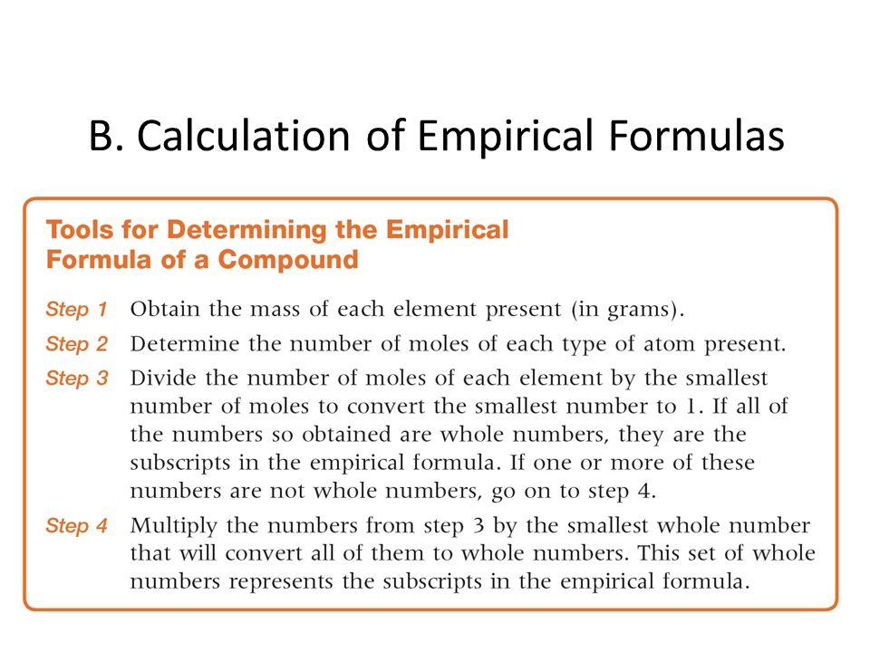 B. Calculation of Empirical Formulas