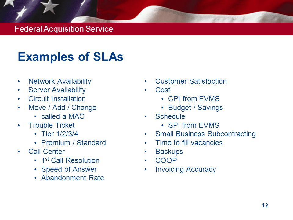 Federal Acquisition Service 12 Examples of SLAs Network Availability Server Availability Circuit Installation Move / Add / Change called a MAC Trouble Ticket Tier 1/2/3/4 Premium / Standard Call Center 1 st Call Resolution Speed of Answer Abandonment Rate Customer Satisfaction Cost CPI from EVMS Budget / Savings Schedule SPI from EVMS Small Business Subcontracting Time to fill vacancies Backups COOP Invoicing Accuracy