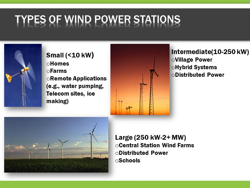 Small (<10 kW ) o Homes o Farms o Remote Applications (e.g., water pumping, Telecom sites, ice making) Large (250 kW-2+ MW) o Central Station Wind Farms o Distributed Power o Schools Intermediate(10-250 kW) o Village Power o Hybrid Systems o Distributed Power