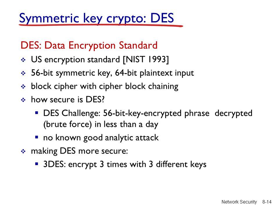 8-14Network Security Symmetric key crypto: DES DES: Data Encryption Standard  US encryption standard [NIST 1993]  56-bit symmetric key, 64-bit plaintext input  block cipher with cipher block chaining  how secure is DES.