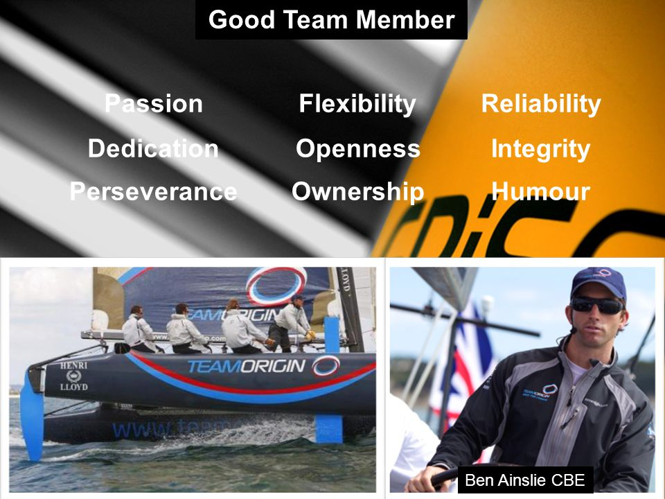 Passion Dedication Perseverance Flexibility Openness Ownership Reliability Integrity Humour Ben Ainslie CBE Good Team Member
