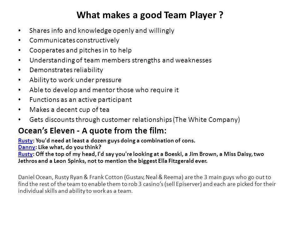 What makes a good Team Player .
