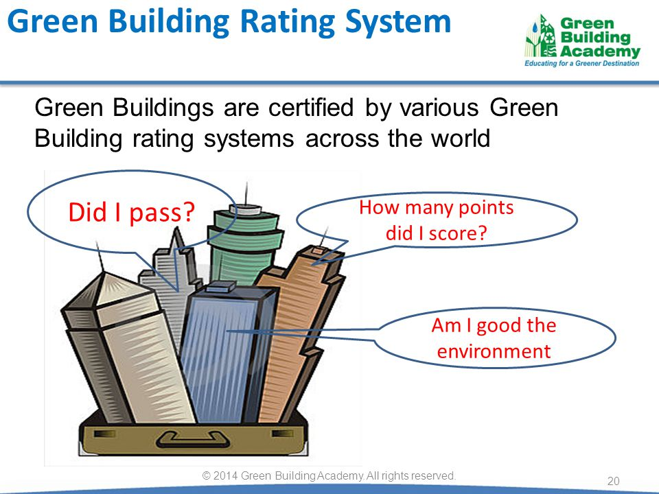 20 How many points did I score? Did I pass? Green Building Rating System Am I good the environment Green Buildings are certified by various Green Buil