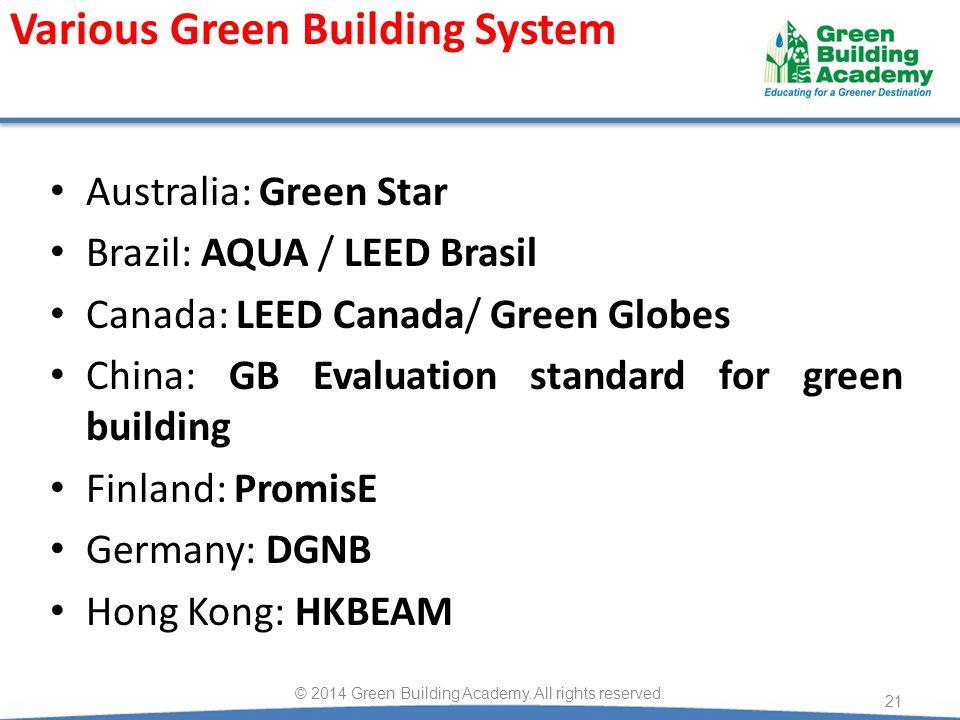 Australia: Green Star Brazil: AQUA / LEED Brasil Canada: LEED Canada/ Green Globes China: GB Evaluation standard for green building Finland: PromisE G