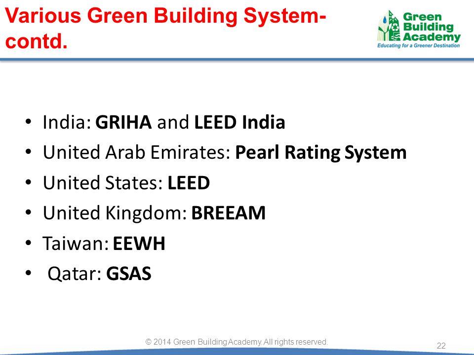India: GRIHA and LEED India United Arab Emirates: Pearl Rating System United States: LEED United Kingdom: BREEAM Taiwan: EEWH Qatar: GSAS 22 © 2014 Gr