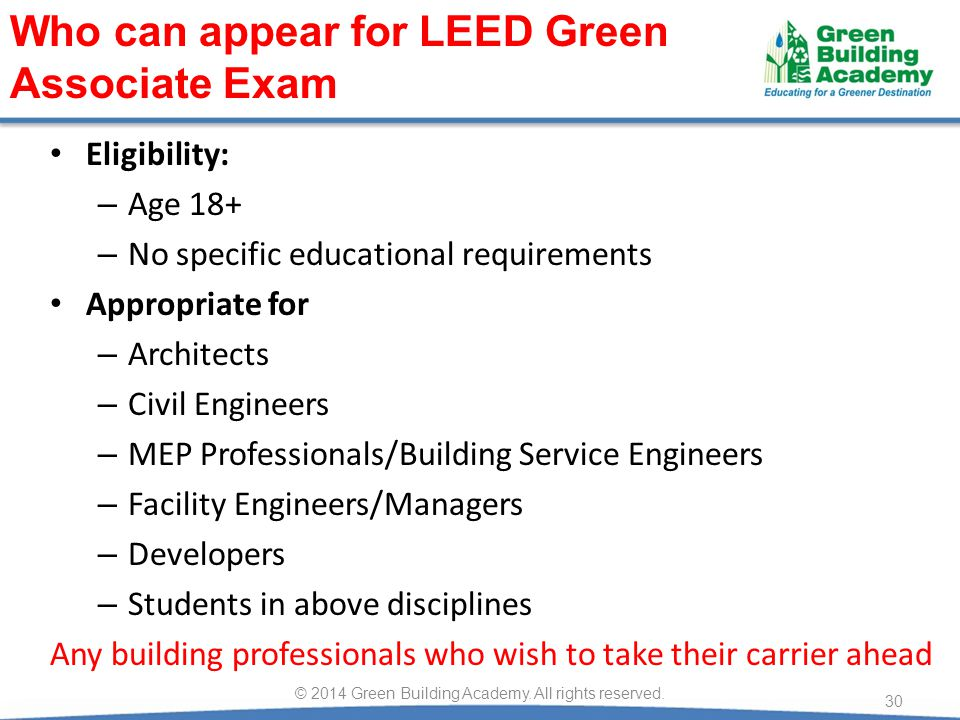 Eligibility: – Age 18+ – No specific educational requirements Appropriate for – Architects – Civil Engineers – MEP Professionals/Building Service Engi