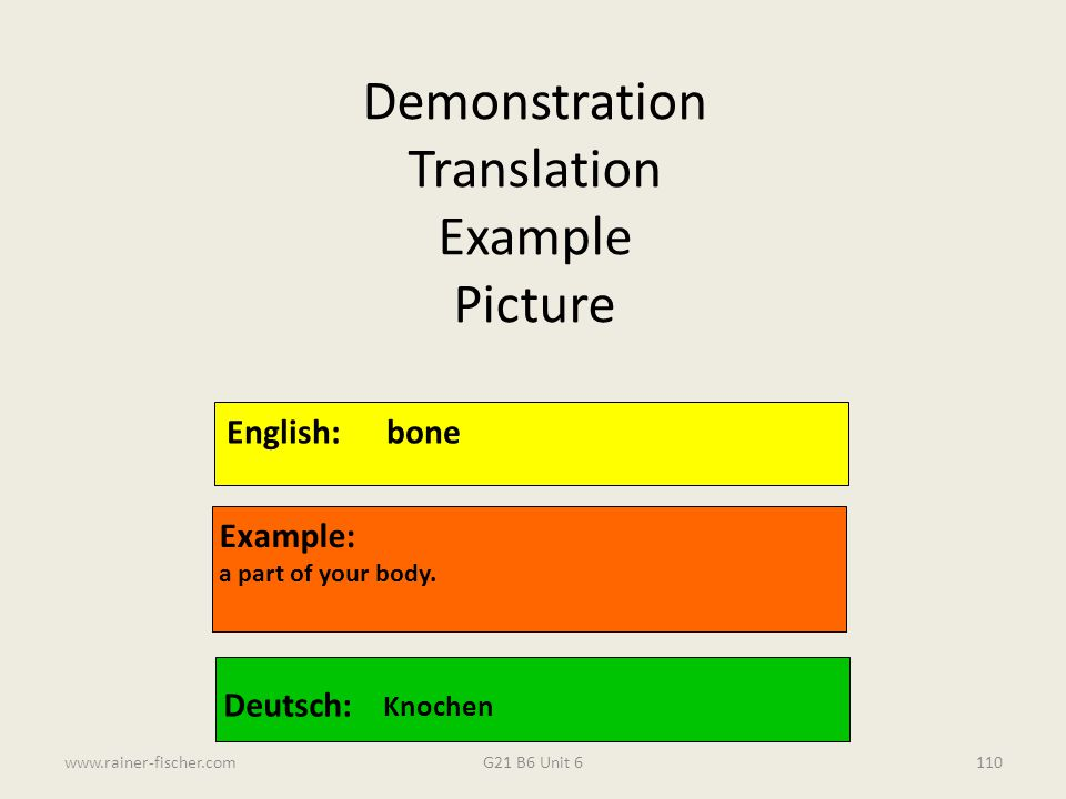 G21 B6 Unit 6www.rainer-fischer.com110 English:bone Example: a part of your body. Deutsch: Knochen Demonstration Translation Example Picture