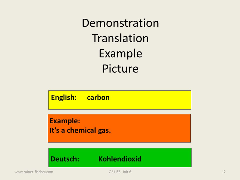 G21 B6 Unit 6www.rainer-fischer.com12 English:carbon Example: It's a chemical gas. Deutsch:Kohlendioxid Demonstration Translation Example Picture