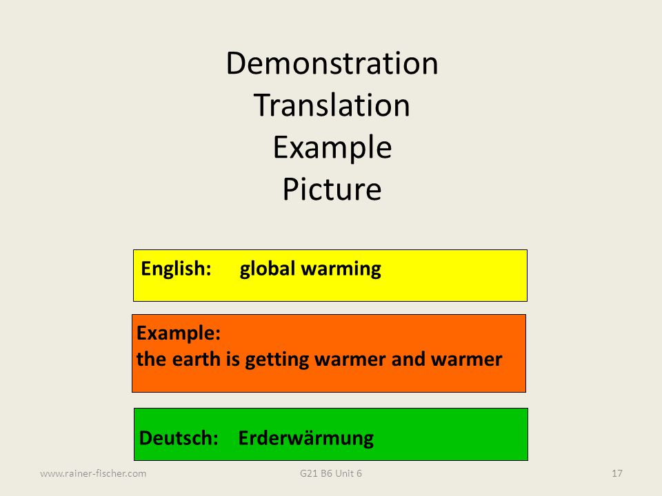G21 B6 Unit 6www.rainer-fischer.com17 English:global warming Example: the earth is getting warmer and warmer Deutsch:Erderwärmung Demonstration Transl