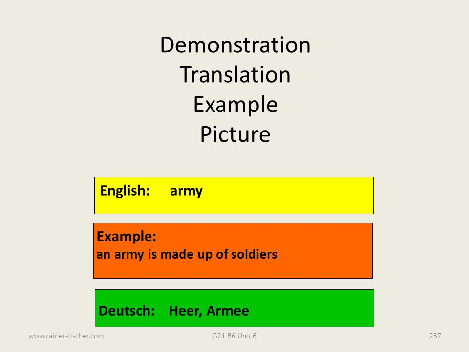 G21 B6 Unit 6www.rainer-fischer.com237 English:army Example: an army is made up of soldiers Deutsch:Heer, Armee Demonstration Translation Example Pict