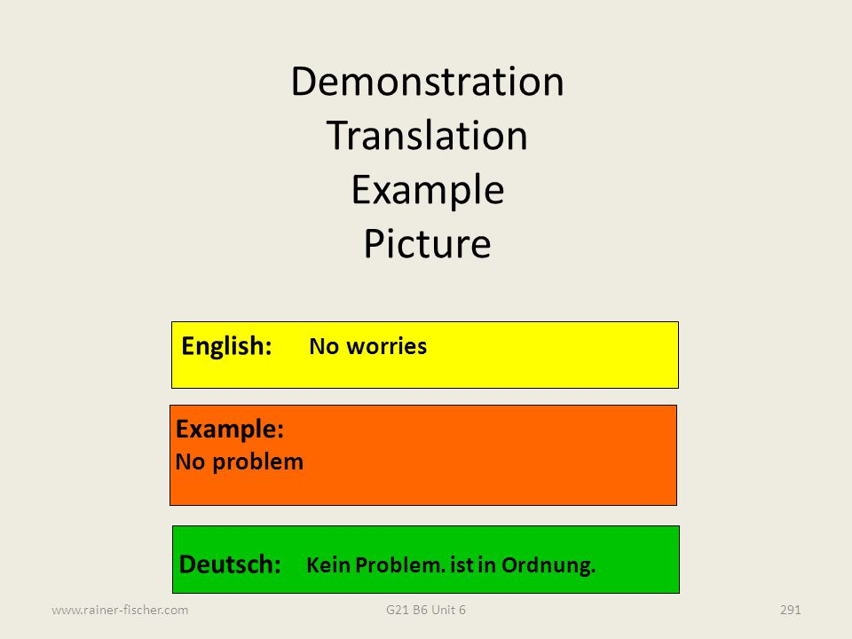 G21 B6 Unit 6www.rainer-fischer.com291 English: No worries Example: No problem Deutsch: Kein Problem. ist in Ordnung. Demonstration Translation Exampl