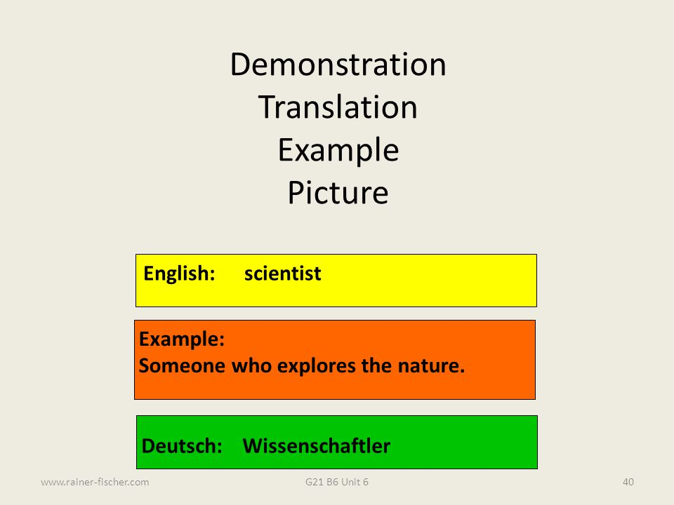 G21 B6 Unit 6www.rainer-fischer.com40 English:scientist Example: Someone who explores the nature. Deutsch:Wissenschaftler Demonstration Translation Ex