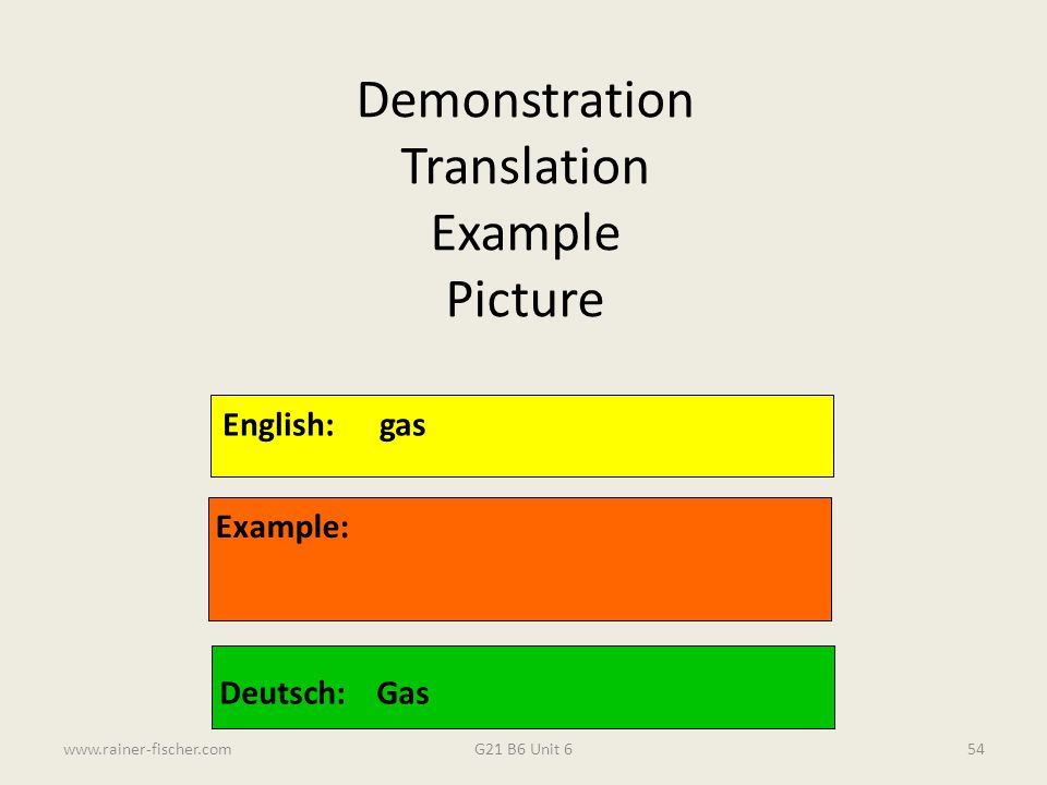 G21 B6 Unit 6www.rainer-fischer.com54 English:gas Example: Deutsch:Gas Demonstration Translation Example Picture