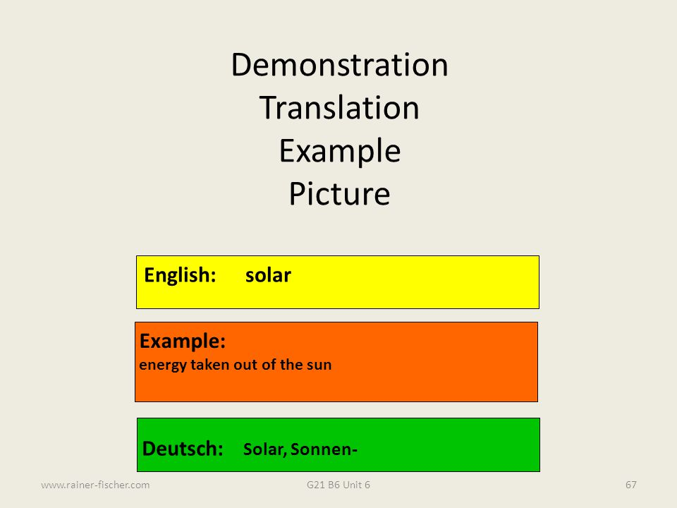 G21 B6 Unit 6www.rainer-fischer.com67 English:solar Example: energy taken out of the sun Deutsch: Solar, Sonnen- Demonstration Translation Example Pic