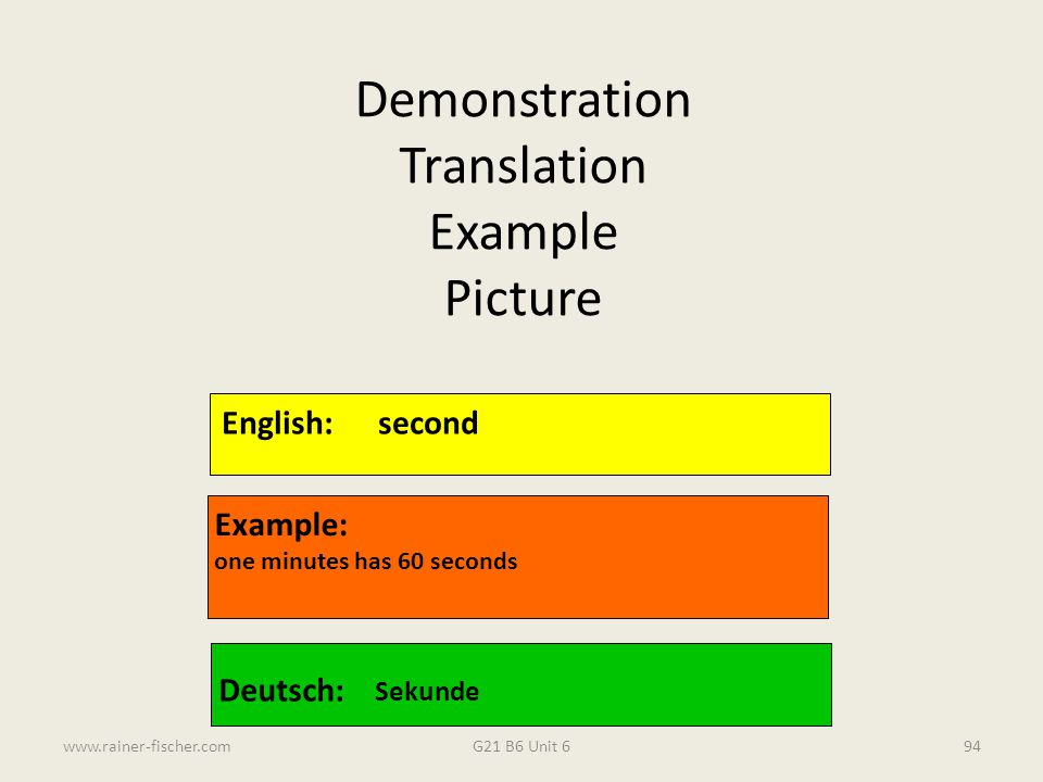 G21 B6 Unit 6www.rainer-fischer.com94 English:second Example: one minutes has 60 seconds Deutsch: Sekunde Demonstration Translation Example Picture