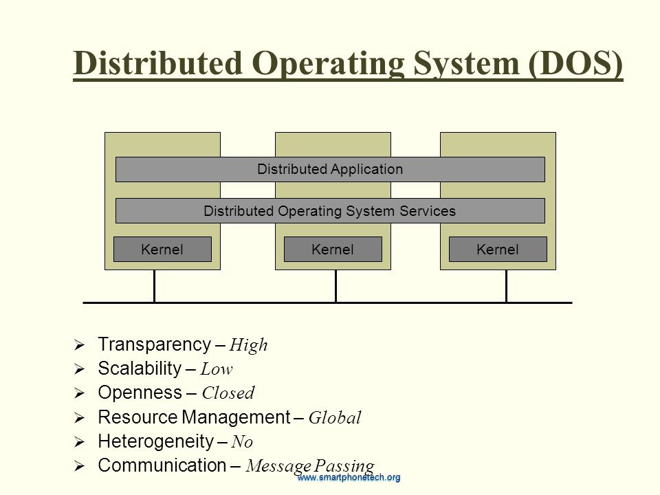 Distributed Operating System (DOS)  Transparency – High  Scalability – Low  Openness – Closed  Resource Management – Global  Heterogeneity – No 