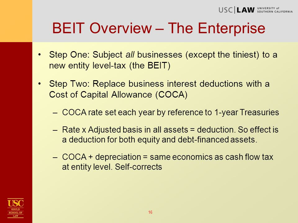 16 Step One: Subject all businesses (except the tiniest) to a new entity level-tax (the BEIT) Step Two: Replace business interest deductions with a Cost of Capital Allowance (COCA) –COCA rate set each year by reference to 1-year Treasuries –Rate x Adjusted basis in all assets = deduction.