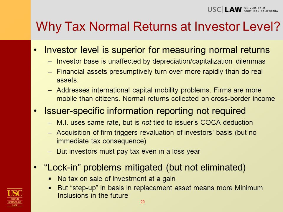 20 Why Tax Normal Returns at Investor Level.