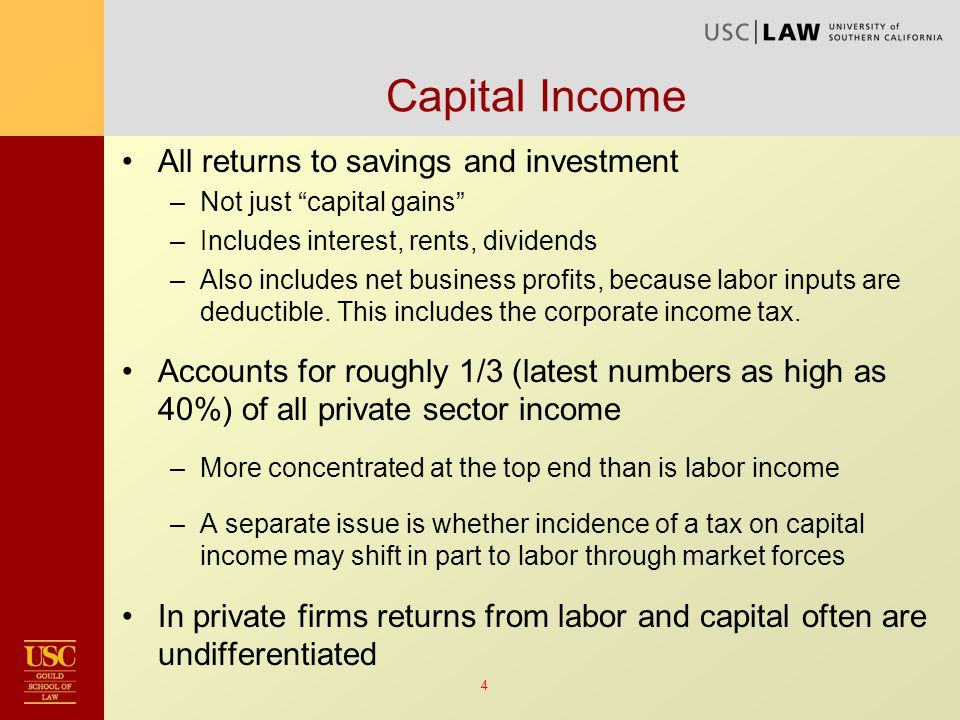 5 Current Law Mismeasures Capital Income Realization principle leads to systematic undertaxation of economic income not paid currently in cash.