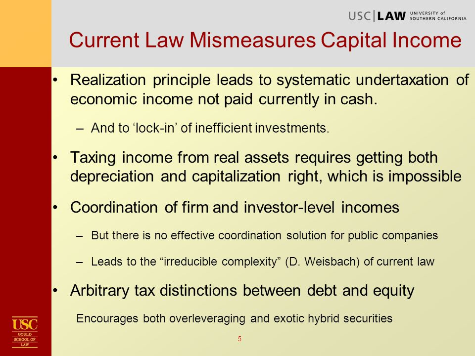 26 DIT: Making a Virtue of Necessity A bifurcated tax rate schedule for capital and labor income may be inevitable in practice –Corporate income tax is the most important tax on income from capital – and it is a flat tax already –Ditto capital gains tax –Globally, corporate income tax rates appear to be trending down, while personal income tax rates appear to be heading up So, the question is not, do we want a dual income tax – but rather, do we want a thoughtful one.