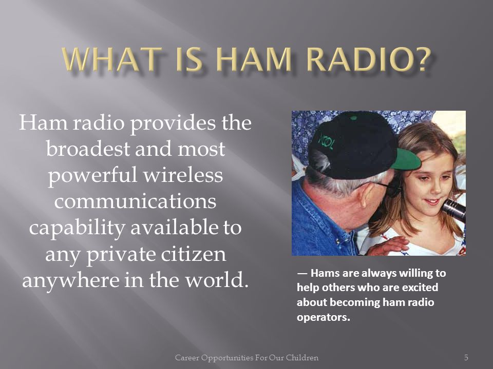 Amateur Radio (Ham Radio) and its role in introducing children to electronics, leading to careers in engineering and technical support in the telecomm