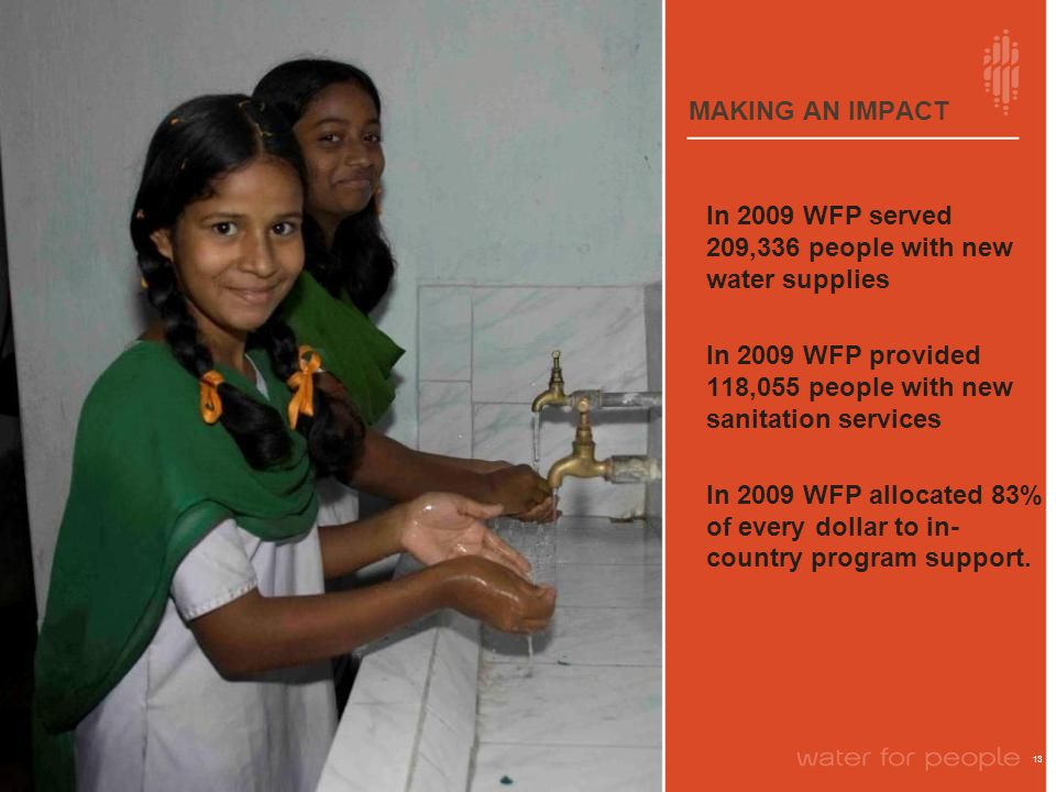 MAKING AN IMPACT 13 In 2009 WFP served 209,336 people with new water supplies In 2009 WFP provided 118,055 people with new sanitation services In 2009 WFP allocated 83% of every dollar to in- country program support.