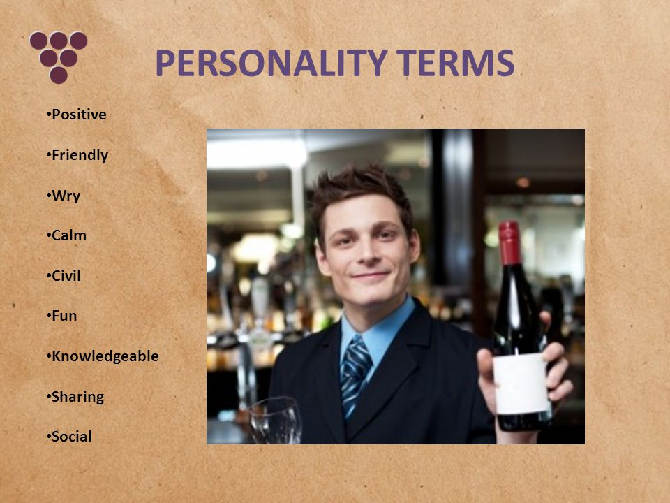 PERSONALITY TERMS Positive Friendly Wry Calm Civil Fun Knowledgeable Sharing Social