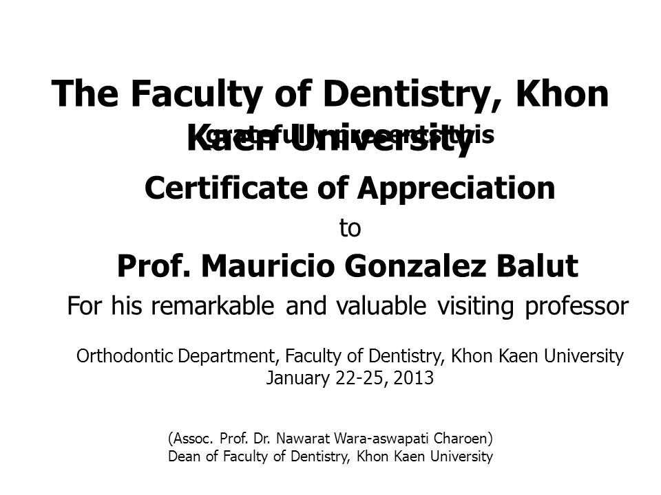 Prof. Mauricio Gonzalez Balut For his remarkable and valuable visiting professor Certificate of Appreciation to gratefully presents this (Assoc. Prof.