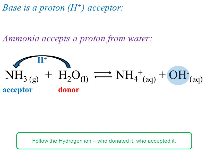 Ammonia accepts a proton from water: NH 3 (g) + H 2 O (l) NH 4 + (aq) + OH - (aq) H+H+ acceptor Base is a proton (H + ) acceptor: donor Follow the Hydrogen ion – who donated it, who accepted it.