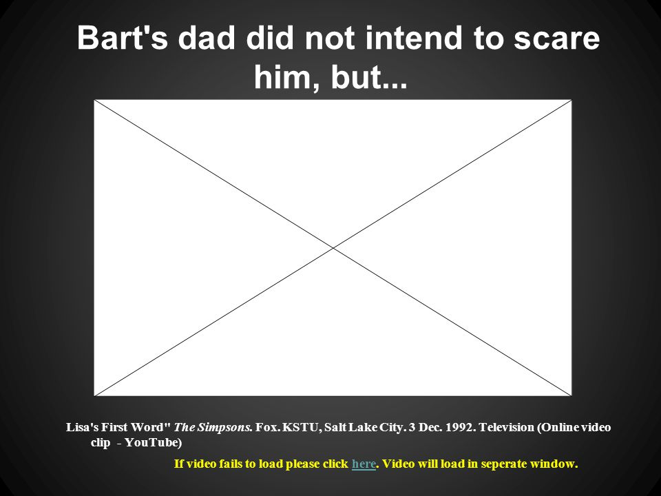 ...poor Bart is traumatized. Lisa s First Word The Simpsons.