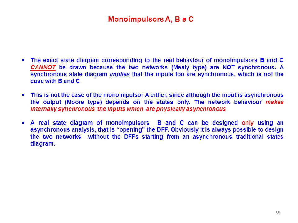 Monoimpulsors A, B e C  The exact state diagram corresponding to the real behaviour of monoimpulsors B and C CANNOT be drawn because the two networks