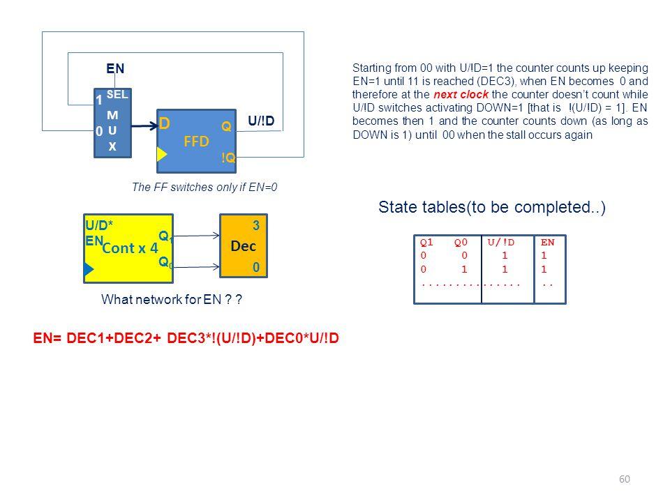 EN= DEC1+DEC2+ DEC3*!(U/!D)+DEC0*U/!D Starting from 00 with U/!D=1 the counter counts up keeping EN=1 until 11 is reached (DEC3), when EN becomes 0 an