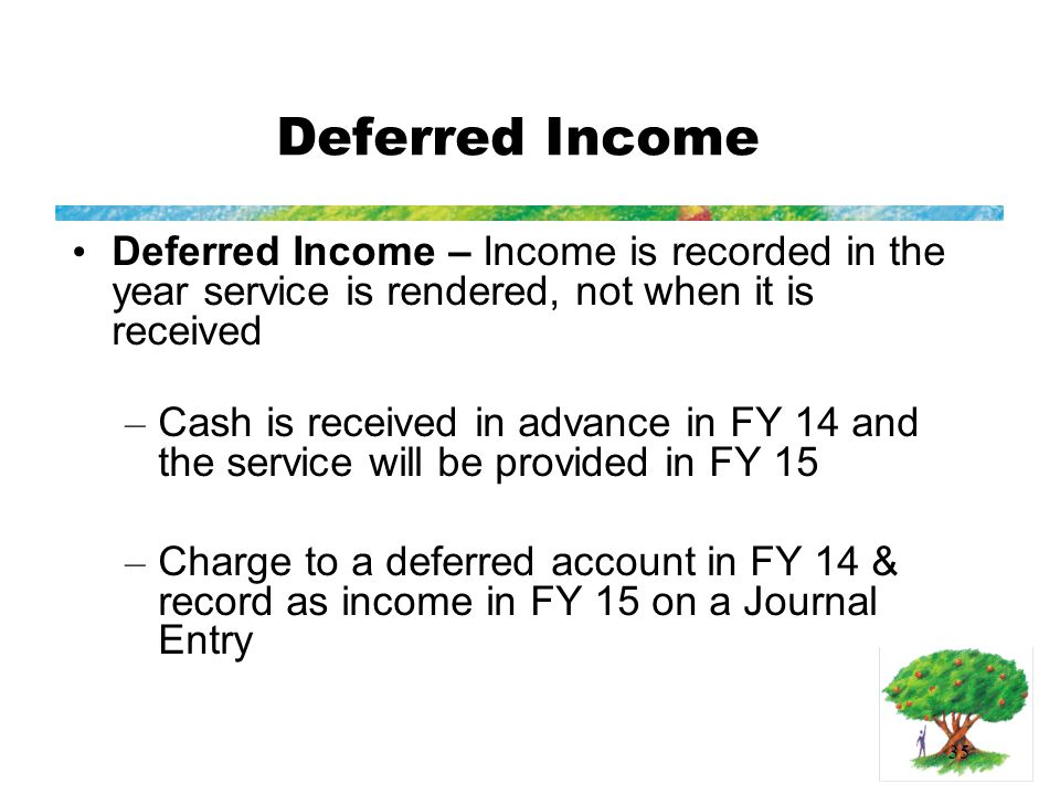 35 Deferred Income Deferred Income – Income is recorded in the year service is rendered, not when it is received – Cash is received in advance in FY 14 and the service will be provided in FY 15 – Charge to a deferred account in FY 14 & record as income in FY 15 on a Journal Entry
