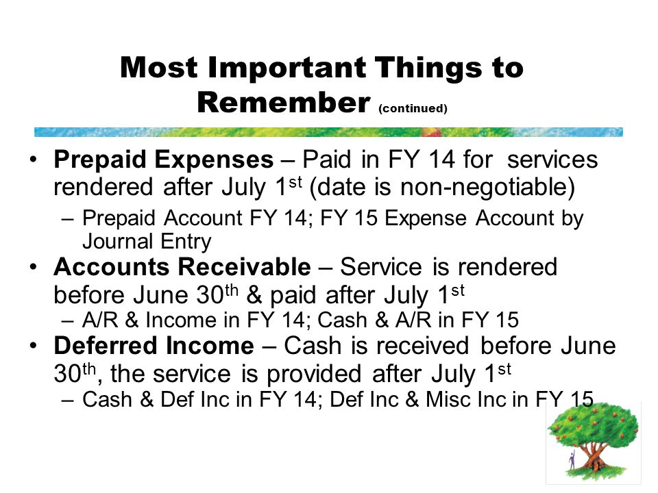 41 Most Important Things to Remember (continued) Prepaid Expenses – Paid in FY 14 for services rendered after July 1 st (date is non-negotiable) –Prepaid Account FY 14; FY 15 Expense Account by Journal Entry Accounts Receivable – Service is rendered before June 30 th & paid after July 1 st –A/R & Income in FY 14; Cash & A/R in FY 15 Deferred Income – Cash is received before June 30 th, the service is provided after July 1 st –Cash & Def Inc in FY 14; Def Inc & Misc Inc in FY 15