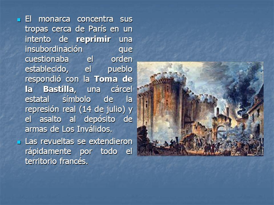 El monarca concentra sus tropas cerca de París en un intento de reprimir una insubordinación que cuestionaba el orden establecido, el pueblo respondió