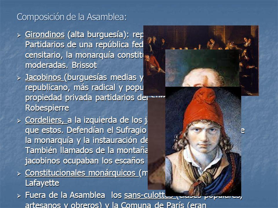  Girondinos (alta burguesía): republicanos moderados. Partidarios de una república federal. Defendían el sufragio censitario, la monarquía constituci