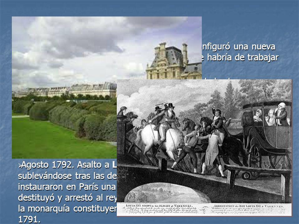 De acuerdo con la Constitución de 1791 se configuró una nueva Asamblea, dominada por los girondinos, que habría de trabajar junto al rey en la elabora