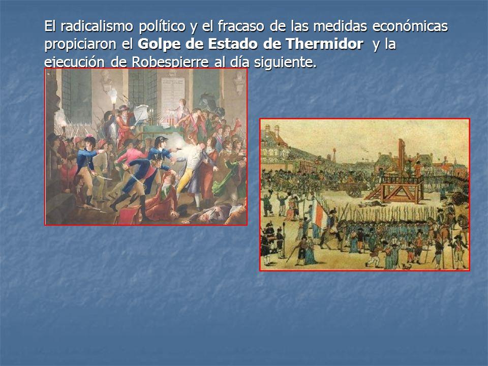 El radicalismo político y el fracaso de las medidas económicas propiciaron el Golpe de Estado de Thermidor y la ejecución de Robespierre al día siguie