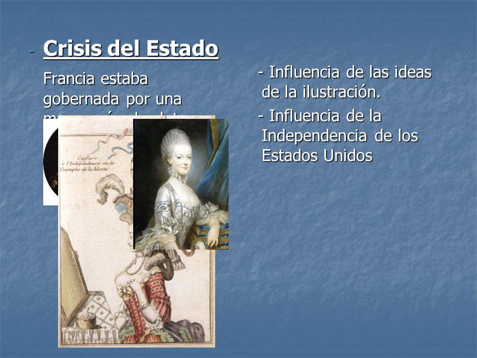 - Crisis del Estado Francia estaba gobernada por una monarquía absoluta y obsoleta - Influencia de las ideas de la ilustración. - Influencia de las id