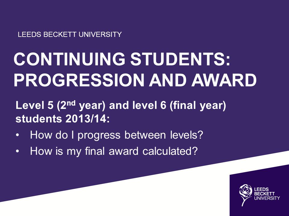 LEEDS BECKETT UNIVERSITY CONTINUING STUDENTS: PROGRESSION AND AWARD Level 5 (2 nd year) and level 6 (final year) students 2013/14: How do I progress b