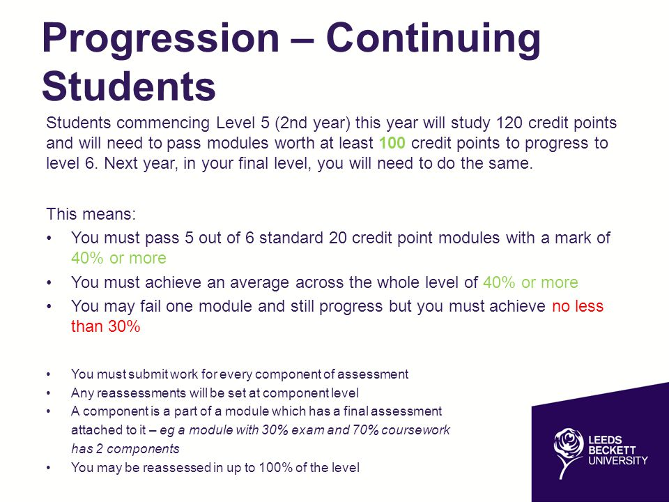 Progression – Continuing Students Students commencing Level 5 (2nd year) this year will study 120 credit points and will need to pass modules worth at