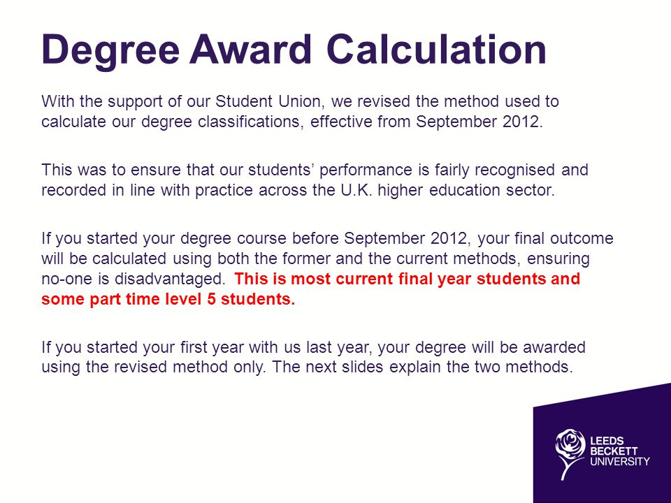 Degree Award Calculation With the support of our Student Union, we revised the method used to calculate our degree classifications, effective from Sep