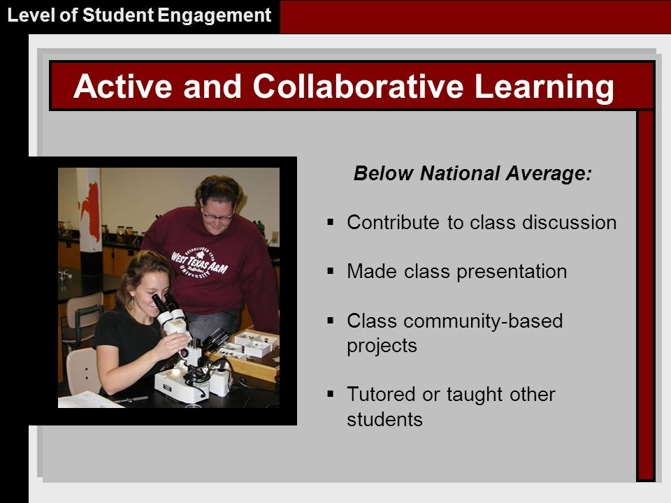 Active and Collaborative Learning Level of Student Engagement Below National Average:  Contribute to class discussion  Made class presentation  Class community-based projects  Tutored or taught other students Place Picture Here