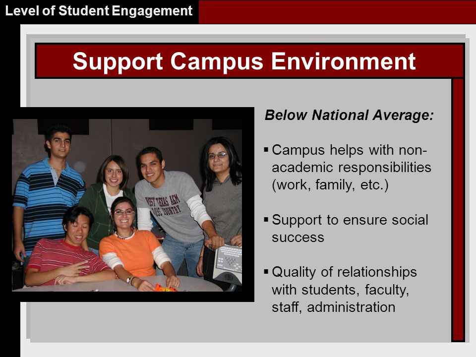Support Campus Environment Level of Student Engagement Below National Average:  Campus helps with non- academic responsibilities (work, family, etc.)  Support to ensure social success  Quality of relationships with students, faculty, staff, administration Place Picture Here