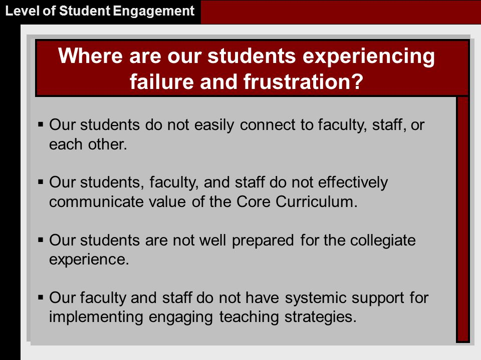 Where are our students experiencing failure and frustration.