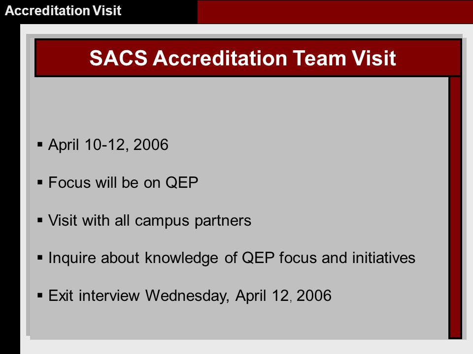 SACS Accreditation Team Visit Accreditation Visit  April 10-12, 2006  Focus will be on QEP  Visit with all campus partners  Inquire about knowledge of QEP focus and initiatives  Exit interview Wednesday, April 12, 2006