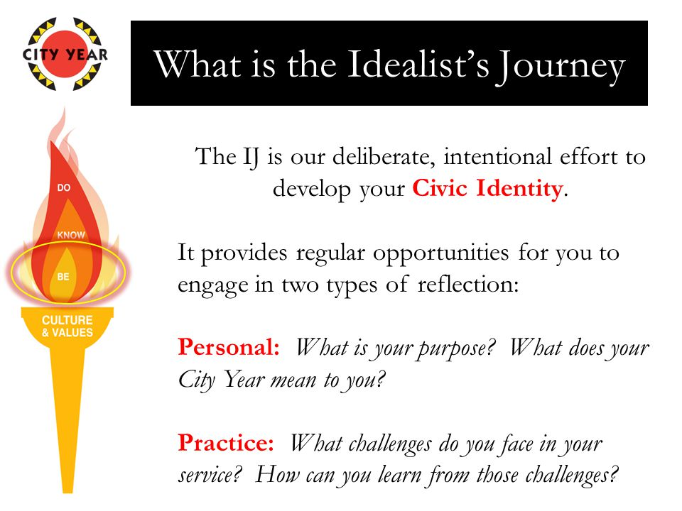 What is the Idealist's Journey The IJ is our deliberate, intentional effort to develop your Civic Identity. It provides regular opportunities for you